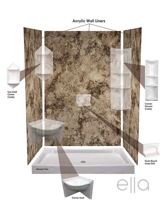 Ella acrylic wall liners bases bath masters for How to install acrylic bathtub liners